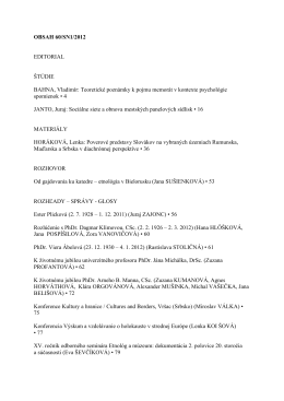 OBSAH 60/SN1/2012 EDITORIAL ŠTÚDIE BAHNA, Vladimír