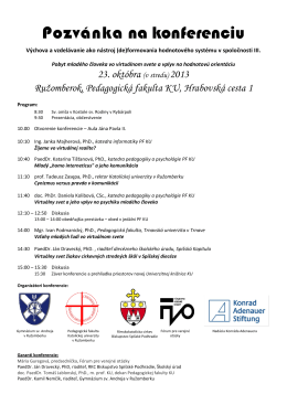 Pozvánka na konferenciu - Gymnázium sv. Andreja v Ružomberku