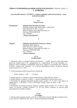 Zmluva o dlhodobom prenájme nebytových priestorov ( č