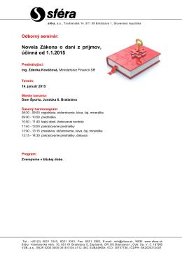 Novela Zákona o dani z príjmov, účinná od 1.1.2015