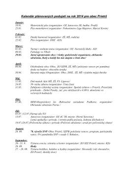 Kalendár plánovaných podujatí na rok 2014 pre obec Prietrž