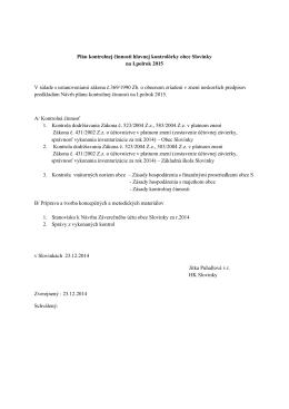 Plán kontrolnej činnosti hlavnej kontrolórky obce