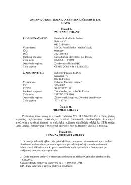 Zmluva o kontrolnej a servisnej činnosti EPS č. 1/2012