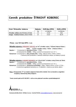 Cenník produktov ŠTRKOVÝ KOBEREC