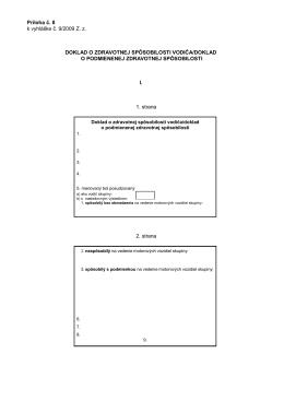 Príloha č. 8 Doklad o zdravotnej spôsobilosti