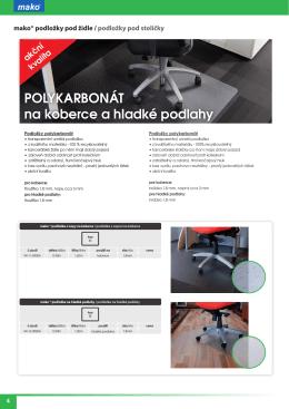 POLYKARBONÁT na koberce a hladké podlahy
