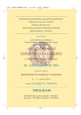 ost. Program TREN›ęN 2014 - Slovenská Gerontologická a