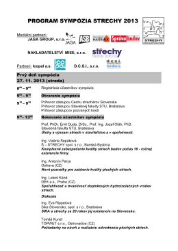 PROGRAM SYMPÓZIA STRECHY 2004