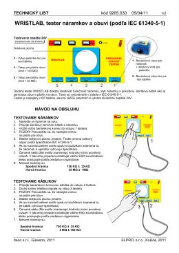 WRISTLAB, tester náramkov a obuvi (podľa IEC 61340-5-1)