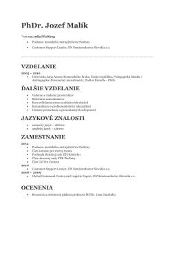Môj životopis - PhDr. Jozef Malík