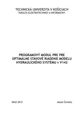 Stavové riadenie laboratórneho modelu hydraulického systému