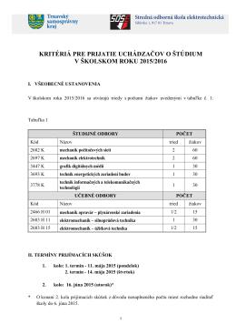 Kritériá prijímacích skúšok 2015/2016