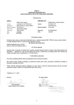 Zmluva o poskytnutí finančného daru uzatvorená podľa § 628 až
