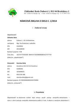 RÁMCOVÁ ZMLUVA O DIELO č. 1/2014