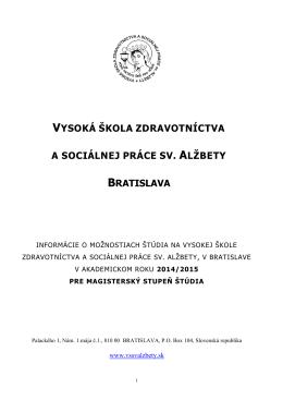 vysoká škola zdravotníctva a sociálnej práce sv