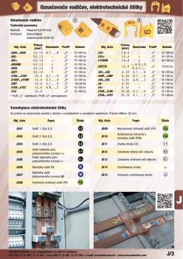 J/3 Označovače vodičov, elektrotechnické štítky