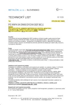 technický list