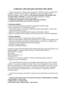 Vyhlásenie voľby hlavného kontrolóra Obce Beňuš
