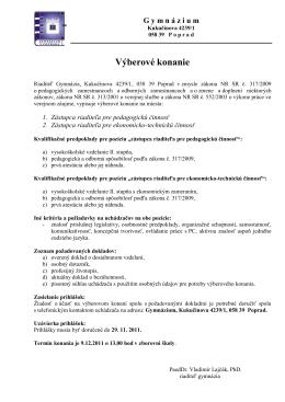 Výberové konanie - Gymnázium, Kukučínova 4239/1, Poprad