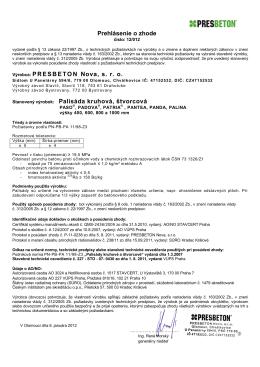 Prehlásenie o zhode Výrobca: PRESBETON Nova, sro Stanovený