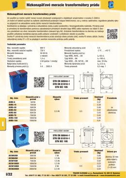 I/22 Nízkonapäťové meracie transformátory prúdu