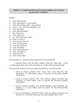 Zápisnica  - Zasadnutia Súdnej rady Slovenskej republiky
