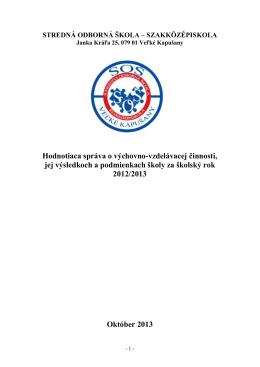 Hodnotiaca správa 2012/2013
