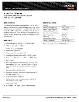 KVR1333D3S8S9/2G Data Sheet