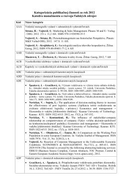 Kategorizácia publikačnej činnosti KMaRĽZ za rok 2012