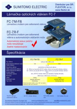 Lámačka optických vlákien FC-7 Špecifikácia