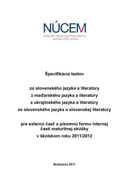 Špecifikácia testov zo slovenského jazyka a literatúry z