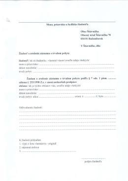 žiadosť o zrušenie záznamu o trvalom pobyte