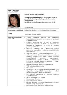 Meno a priezvisko odborníka ABC SCŠPP