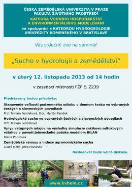 Pozvánka na seminář Sucho v hydrologii a zemědělství (PDF)