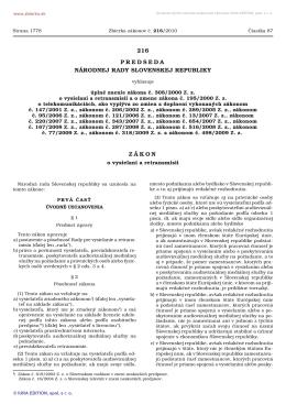 216/2010 Úplné znenie zákona č. 308/2000 Z. z. o vysielaní a