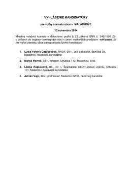 Vyhlásenie kandidatúry pre voľby starostu