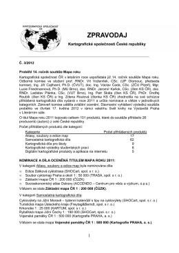 Č. 3/2012 Proběhl 14. ročník soutěže Mapa roku Kartografická
