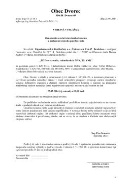 oznámenie o začatí stavebného konania a nariadenie
