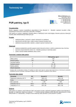 Technický list PUR patróny, typ S