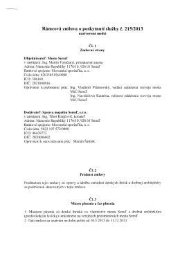 Rámcová zmluva o poskytnutí služby č. 215/2013