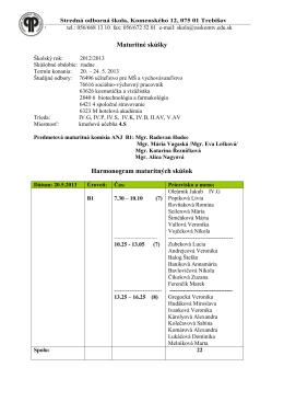 Harmonogram CUJ - Stredná odborná škola Trebišov