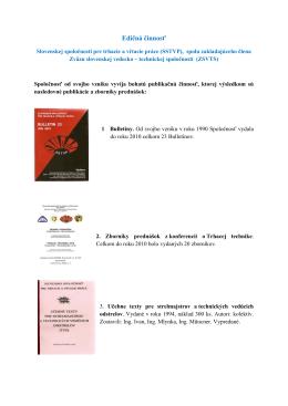 Edičná činnosť - Slovenská banícka spoločnosť