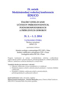 Program EDUCO 2014 - Katedra zoológie a antropológie