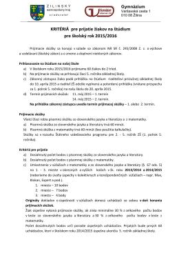 Kritériá pre prijatie žiakov na štúdium