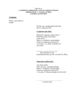 Záverečná správa 2011/2012 - Základná škola V. Javorku