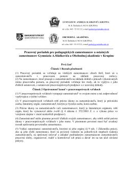 Pracovný poriadok pre pedagogických zamestnancov a ostatných