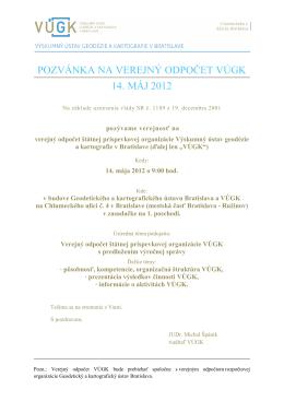 pozvánka na verejný odpočet vúgk 14. máj 2012