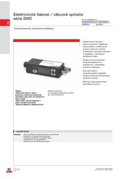 2 Elektronické tlakové / vákuové spínače séria SWD
