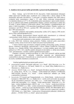 1. Analýza stavu pracovného prostredia a pracovných podmienok.