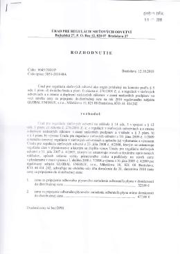 Rozhodnutie 2010 - cena za pripojenie odberného plynového